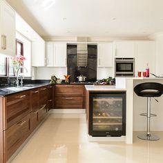 White kitchen with walnut units   Kitchen decorating   Beautiful Kitchens   Housetohome.co.uk