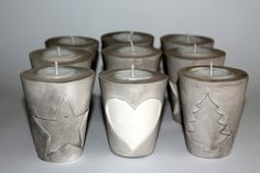 DIY plaster / concrete tealight holder Christmas easy to make yourself - DIY, handicrafts: plaster / concrete tealight holder Christmas in Christmas decoration – DIYCarin - Christmas Art, Christmas Decorations, Xmas, Diy Plaster, Cement Crafts, Ceramic Clay, Tea Light Holder, Candle Making, Homemade Gifts