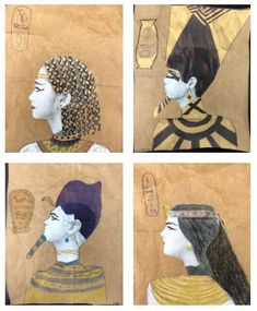 During this Egyptian portrait project, middle school students will study Nefertiti, create a portrait like a famous ruler, and make their own cartouche. projects for middle school students Egyptian Portrait Art Lesson Tattoo Falcon, Egypt Crafts, Ancient Egypt Art, Ancient Egypt Lessons, Middle School Art Projects, Elementary Art, Primary School Art, School Kids, Egyptian Art