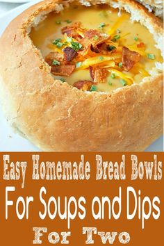Easy Homemade Bread Bowls are fluffy and light and amazing filled with a yummy soup or dip. They are easy to make and the bread from the inside can be used to dip with or made into homemade croutons. This small batch recipe makes 2 bowls. Homemade Bread Bowls, Homemade Soup, Homemade Croutons, Bread Bowls For Soup, Small Meals, Meals For Two, Soup Recipes, Cooking Recipes, Bread Recipes