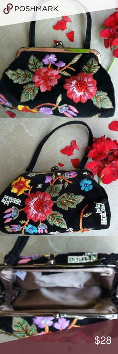 Paradox black floral clutch Black velvet with colorful needlework flowers and Japanese seed beads.  8 inches wide across bottom.  4 inches in height. Bags Clutches & Wristlets