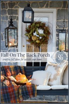 FALL BACK PORCH- come swing on my back porch and let's talk great ideas for outdoor fall decor! -stonegableblog.com
