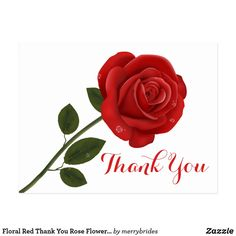 Floral Red Thank You Rose Flower - Wedding Love Postcard Thank You Wishes, Thank You Greetings, Thank You Quotes, Small Thank You Gift, Thank You Gifts, Appreciation Message, Thank You Images, Printable Thank You Cards, Red Rose Flower
