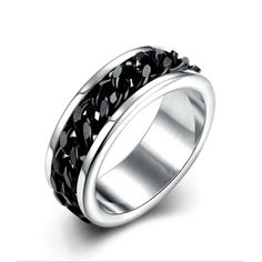 2016 High Quality Rotatable chain Man Jewelry Silver Fashion Titanium Steel Ring For Men Biker Rings Vintage Jewelry sa7004 #Affiliate