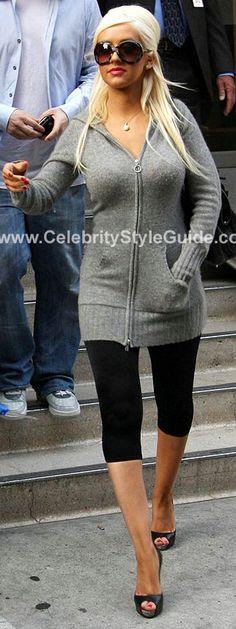 Long fleece grey sweater / 3/4 length black tights / Black peep toe heels - Christina Aguilera