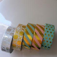 Foil washi tape - 24 inch sample - gold foil - silver foil - pastel washi - stripes dots - mint washi - pink washi - washi tape samples by WashiYouDoing on Etsy