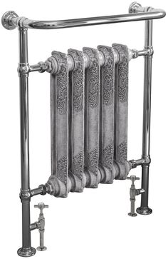 New Wilsford floor mounted steel towel rail with integral cast iron radiator from Carron. Available in a chrome finish priced at or c. Chrome Towel Rail, Shower Rail, Bath Panel, Cast Iron Radiators, Bath Taps, Towel Warmer, Heated Towel Rail, Metallic Paint, Chrome Finish