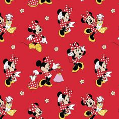 """Disney's Minnie Mouse prints. This is 43/44in wide and is measured in 1/2 yards (18"""") made of 100% cotton. The purchase of multiple yards will be in one continuous length. Products Details: Is great for quilting, apparel and crafts. Made From 100% Cotton Width: 43/44"""" From Springs Creative"""