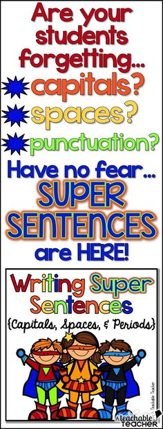 Visual posters, worksheets/practice, and a mini book for teaching sentence writing (capitals, spaces, and periods).  Great for ESL's and posters can be left up ALL year!  Cute theme! | teaching sentence structure | teaching writing | teaching reading | fi