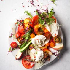 Taste Mag | Tumbled tomato-and-peach salad @ http://taste.co.za/recipes/tumbled-tomato-and-peach-salad/