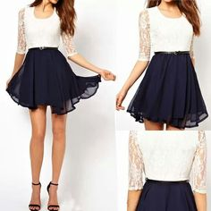 White & Navy Blue Casual Dress