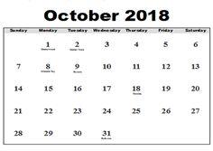 Calendar October 2018 Printable Printable Calendar October 2018 Canada Printable Calendar October 2018 Monthly Printable Calendar October 2018 with Holidays Printable Calendar of October 2018 [. Monthly Calendar 2018, Excel Calendar Template, Printable Calendar Template, Blank Calendar, Printables, Holidays, Words, October, Holidays Events