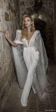 dany mizrachi spring 2018 bridal cap sleeves deep plunging v neck heavily embellished bodice sophiscated jumpsuit wedding dress open v back (36) mv -- Dany Mizrachi Spring 2018 Wedding Dresses