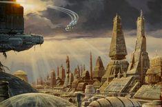 "sci-fi traditional illustration by Phillippe ""Manchu"" Bouchet Concept Ships, Concept Art, 70s Sci Fi Art, Sci Fi Environment, Spaceship Art, Creative Background, Science Fiction Art, Futuristic Architecture, Fantasy Landscape"
