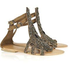 Antik Batik Kiss embellished suede sandals