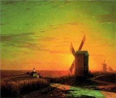 Windmills in the Ukrainian steppe at sunset - Ivan Aivazovsky
