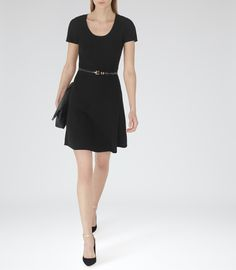 Womens Black Ribbed Fit And Flare Dress - Reiss Hallie