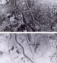 Two views of Nagasaki - one before the atomic bomb, and one after, 1945.