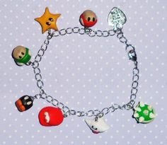 Cute polymer clay charm bracelet - Super Mario inspired. This is such a great idea!