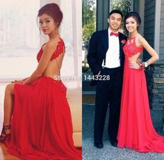 A Line Red Chiffon Sexy Backless Prom Dress with Lace Appliques High Slit Long Formal Evening Gown vestido de formatura-in Prom Dresses from Weddings & Events on Aliexpress.com | Alibaba Group
