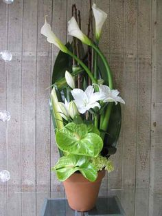 Sympathy flowers for the home and office. Flowers for the funeral service. Sympathy Plants, Sympathy Flowers, Arrangements Funéraires, Vase Haut, Funeral Memorial, Floral Design, Art Floral, Funeral Flowers, Calla Lily