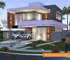 Por C4 Arquitetos, essa residência é de abalar o coração 😍😍😍 Fachada com variedades de revestimentos e tudo em perfeita sintonia!!!…