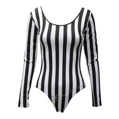 Womens Ladies Monochrome Vertical Stripe Leotard Bodysuit Black White... (€15) ❤ liked on Polyvore featuring tops, black and white bodysuit, bodysuit tops, white and black top, black white top and black and white body suit