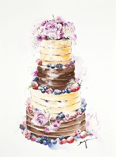 watercolor of cake