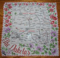 North Dakota + red wild prairie roses + South Dakota + purple pasque flowers [state map handkerchief / scarf]