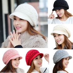 776a35496b3 US Fashion Elegant Womens Hat Autumn Winter Beanies Knitted Warm Hats Fur  Caps  fashion