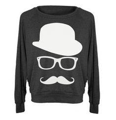 Womens Sweatshirt MUSTACHE Hat Wayfarer Raglan Pullover - American Apparel Sweater - S M and L (8 Color Options). $28.00, via Etsy.