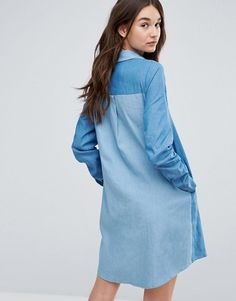 Liquorish Denim Shirt Dress With Patches - Blue