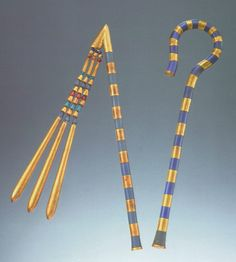 The Tutankhamun Crook and Flail  Gold, Glass, Wood, Carnelian, Copper Alloy  18Th Dynasty