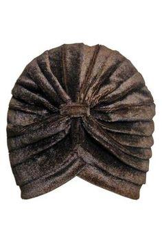 49aec0a876d Luxury Divas Brown Pleated Velvet Premium Luxury Turban Cap Head Wrap Hat