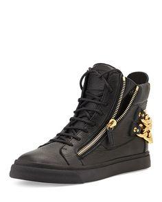 Giuseppe Zanotti  Chain-Back High-Top Sneaker