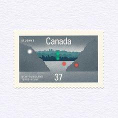 """567 mentions J'aime, 6 commentaires - G R A P H I L A T E L Y (@graphilately) sur Instagram: """"St. John's, Newfoundland (37¢). Canada, 1988. Design: Louis-André Rivard. #mnh #graphilately"""""""