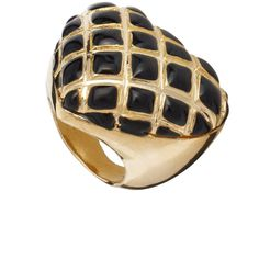 Quilted Enamel Heart Ring