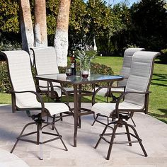 5-Piece Patio Furniture Dining Set with Bar Height.