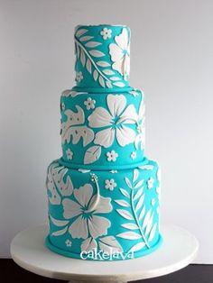 Luau Birthday Party -- Cake -- blue and white hibiscus cake Gorgeous Cakes, Pretty Cakes, Amazing Cakes, Fondant Cakes, Cupcake Cakes, Hawaii Cake, Luau Cakes, Shirt Cake, Fancy Cakes