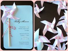 DIY Pinwheel Invitation Kit Makes 8 by EcoMonster on Etsy, Invitation Kits, Baby Shower Invitations, Birthday Invitations, Wedding Invitations, Invites, Diy Pinwheel, Showers Of Blessing, Party Entertainment, Cute Crafts