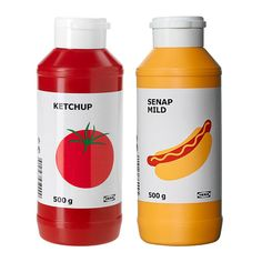 Ikea ketchup and mustard packaging by Stockholm Design Lab.