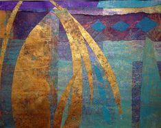 Inspiration. Gelli painted mono prints in a collage K. Harris