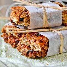 Home made granola bars - Ina Garten's recipe for homemade granola with rolled oats, dried fruit and honey as a binder.