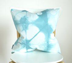 Organic Cotton Shibori Pillow Cover 18x18 inches - Sea Glass