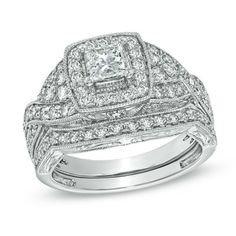 $3700 1-1/2 CT. T.W. Princess-Cut Diamond Vintage-Style Bridal Set in 14K White Gold - Zales