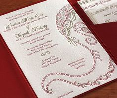 This gorgeous letterpress wedding invitation design features a hand-drawn elephant perfect for your wedding.