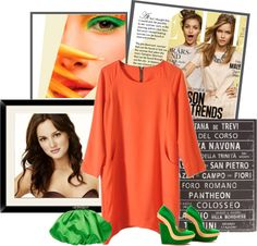 """""""Loose Orange Zip Dress"""" by yamyiy ❤ liked on Polyvore"""
