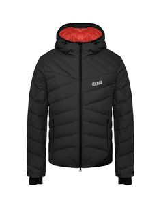 Colmar Freeride line men's ski jacket in superlight, waterproof fabric featuring natural down feather padding and a hood - Colmar