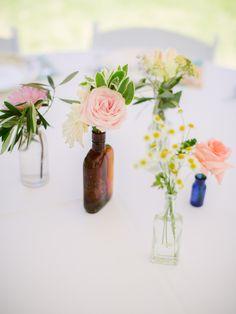 mismatched florals that won't break the bank http://www.weddingchicks.com/2013/11/25/national-park-wedding/