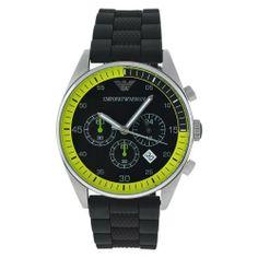 Emporio Armani Men's AR5865 Rubber with Black Dial Watch Emporio Armani. $205.64. Case diameter: 42 mm. Scratch resistant mineral. Quartz movement. Stainless steel case. Water-resistant to 50 M (165 feet). Save 37% Off!